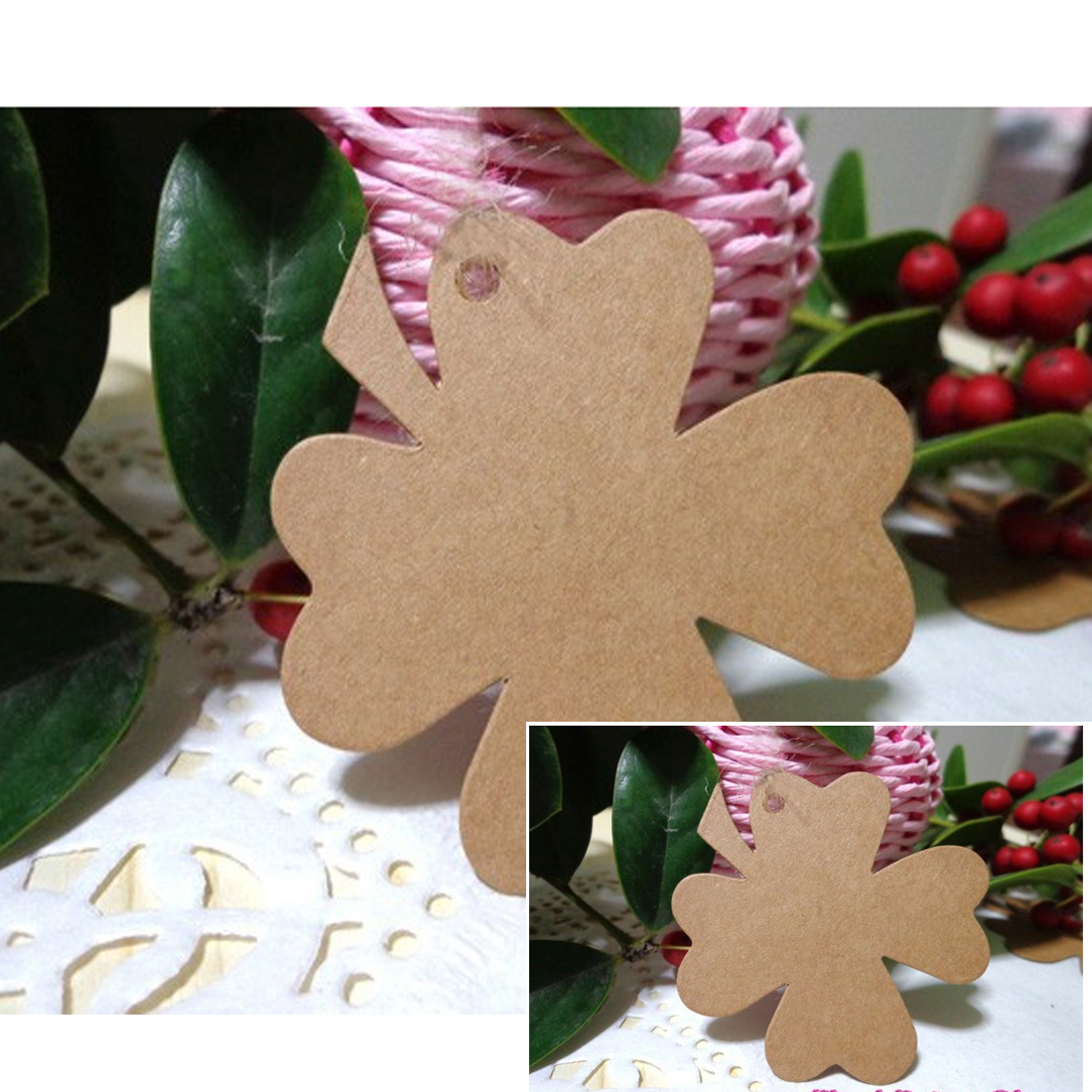 Good Quality 10Pcs Clover Blank Kraft Paper Gift Tags Wedding Doorplate Scallop Favour Luggage