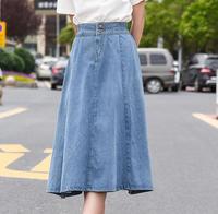 A line denim skirts for women knee length empire ealstic waist cotton blend blue skirts female new fashion summer spring ekm0802