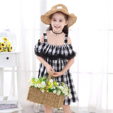 2019 Baby Girl Plaid Dress Lace Princess Wedding Christening Ruffles Girls Clothes For Kids Party Wear