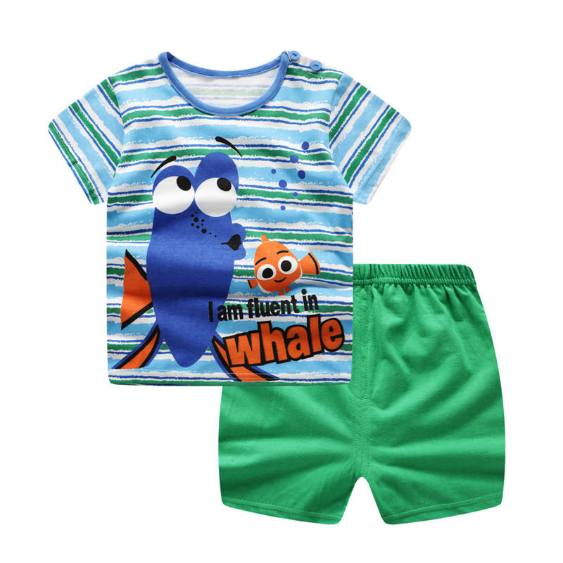 Causual Baby Boy Cartoon Clothes Pullover Green Short Sleeve T Shirt Baby Products Clothing Suit Baby Outfit Baby Girl Outfit
