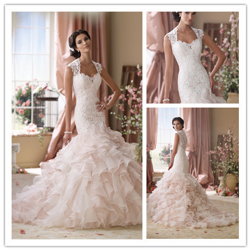 Luxury Cap Sleeves See Through Lace Wedding Dresses Ruffled Organza ...