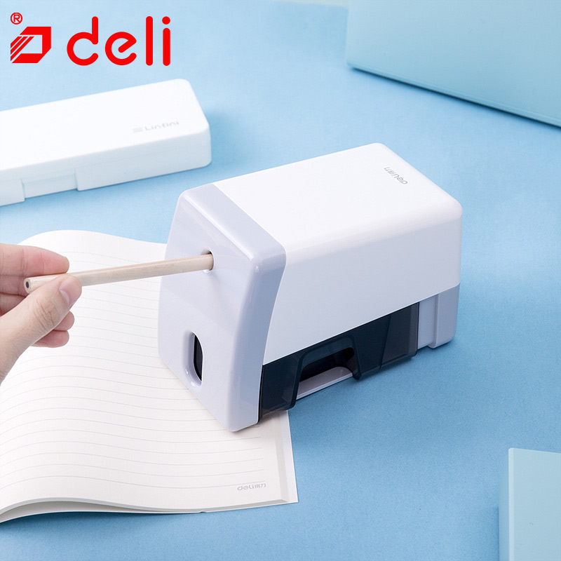 Deli Electronic Pencil Sharpener Creative Student Stationery One Hole Electric Pencil Sharpener Automatic Office School Applies deli 0620 manual pencil sharpener heavy duty quiet for office home and school school chancery stationery desk clamp included