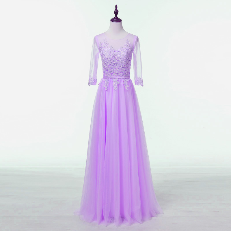 Elegant Appliques Lace Half Sleeves See Through Long Bridesmaid Dress