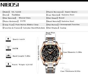 Image 2 - NIBOSI Relogio Masculino Saat Erkekler Saatler Top Marka Lüks Moda İş quartz Saat Erkekler Spor Metal Su Geçirmez Kol Saatleri