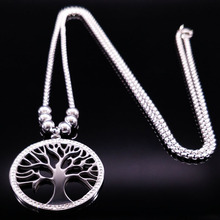2017 Tree of Life Stainless Steel Long Necklace Women Jewerly With Crystal Silver Color Pendant Necklace Jewelry collares N1746