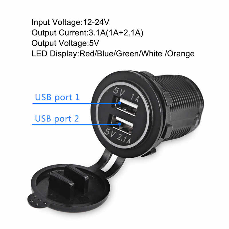 Universal Car Charger USB Vehicle DC12V-32V Waterproof  Dual USB Charger 2 Port Power Socket 5V 2.1A/1A High Quality