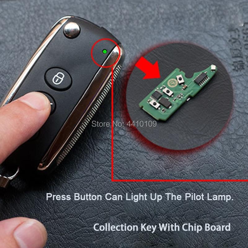 Collection clé coupe lame pour Bentley Mulsanne Hurtling GT Flip pli télécommande clé avec Logo 433 315 MHZ