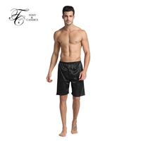 Tony&Candice Men's Sleep Bottoms 100% Silk Boxer Shorts Underwear Sex Pajamas Satin Sleepwear Silk Pyjamas Short Pants Summer