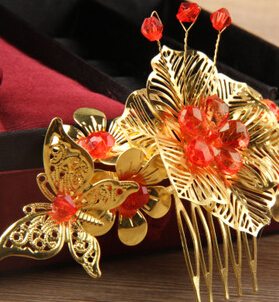 Chinse Style Gold Butterfly Red Beads Wedding Hair comb,Red Wedding Hair Accessories Costume Bridal hairpins