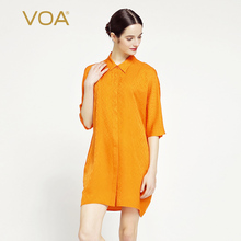 VOA bright orange 100% silk dobby fabric blouse women drop shoulder loose blouse plus size B7001