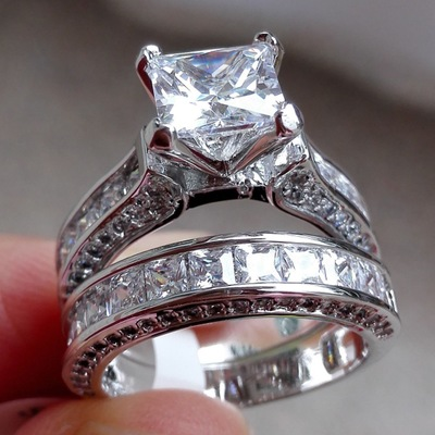 2 Stks/partij Zilveren Dubbele Grote Ringen Set Engagement Voor Vrouw Mannen Zirconia Ring Vrouwelijke Dames Lover Party Bruiloft Sieraden Exquise Vakmanschap;