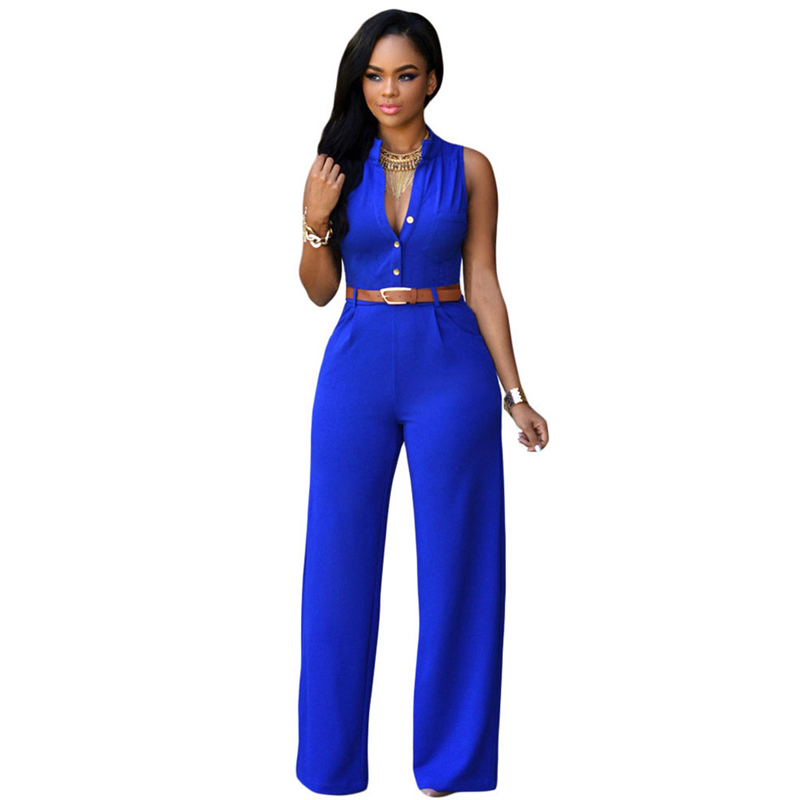 12 Colors Fashion Big Women Sleeveless Maxi Overalls