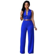 12 Цветов Мода Большой Женщины без рукавов макси комбинезоны Belted Wide Leg Jumpsuit macacao длинные штаны Элегантные Комбинезоны