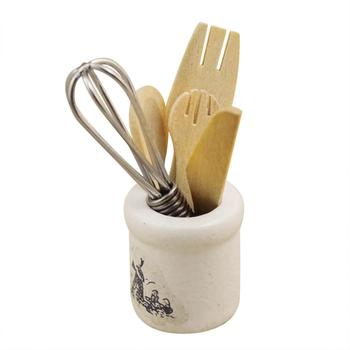 LeadingStar Mini cuchillo de madera tenedor batidor de huevos tarro herramientas de cocina juguetes Set para 112 casa de muñecas