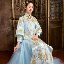 Sky Blue Traditional Chinese Wedding Dress Embroidery Cheongsam Beaded Beads Dresses Retro Dressing Gown Bride Traditions S-XXL(China)