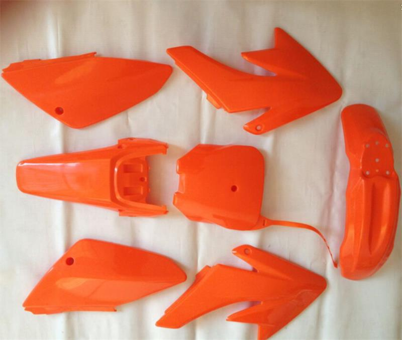 7pieces/1set new orange plastic kit for MOTORCYCLE honda dirt pit bike CRF70 fairing CRF 70 fender front plastic number plate fender cover fairing for honda crf100 crf80 crf70 xr100 xr80 xr70 style dirt pit bike