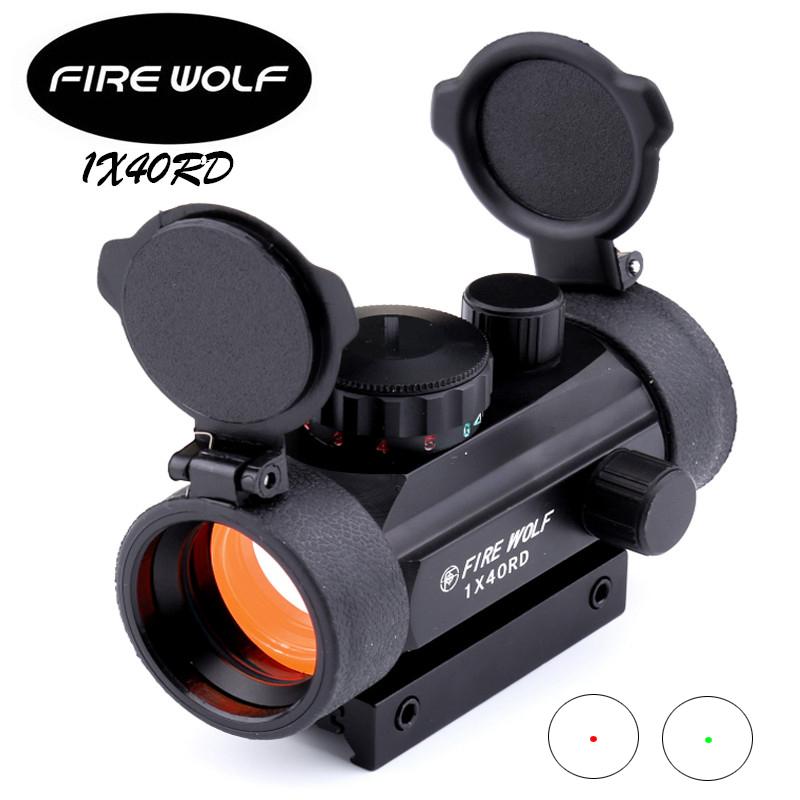 Prix pour Fire wolf 1x40 chasse tactique holographique de tir red vert points optique sight portée réglable rifle gun scope