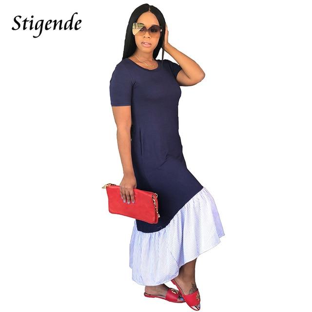 Stigende PLUS SIZE Women Casual Loose Dress Maxi Short Sleeve Striped  Patchwork Long Dress Elegant Sexy O Neck Summer Sundresses 77da33a1635b