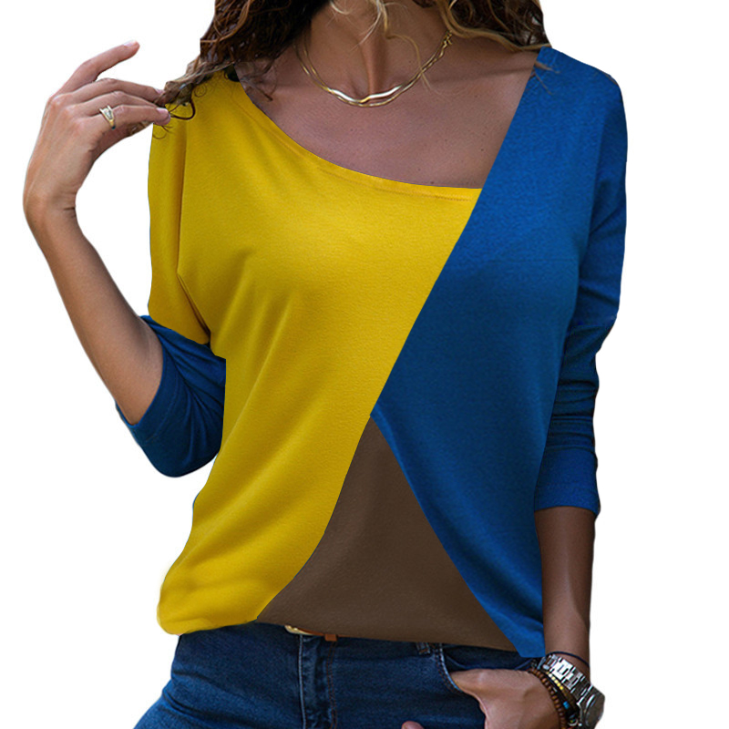 Autumn Long Sleeve   Blouse   Women 2019 Casual Skew Collar Patchwork   Shirt   Slim Office Lady   Blouses   Basic Tops Tee Blusas 2XL