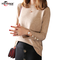 Cashmere Sweater Women Sweaters and Pullovers Women O Neckline Solid Color Long Sleeve Button Cuff Knitted Sweater HX6