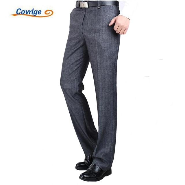Covrlge Для мужчин костюм брюки высокое качество Для мужчин Брюки шелковые брюки прямые Бизнес Для мужчин S формальные брюки большой размер 40 42 44 MKX005