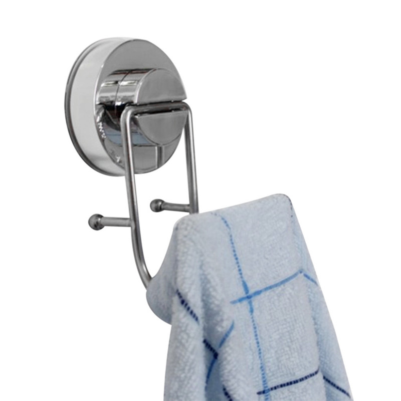 Strong Suction Cup Tile Towel Hanger Rack Stainless Steel Quality Double Hooks Home Storage Hangers Coat Clothes Holder sale