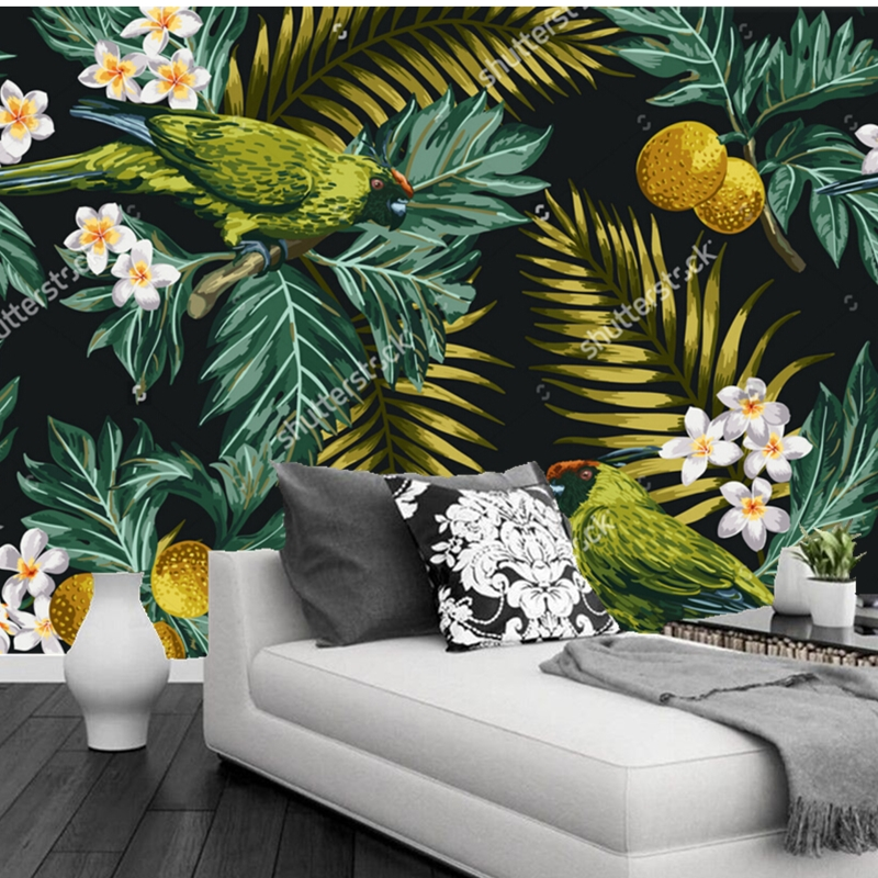 Flower wallpaper tropical leaves flowers and parrot 3d - Flower wallpaper mural ...
