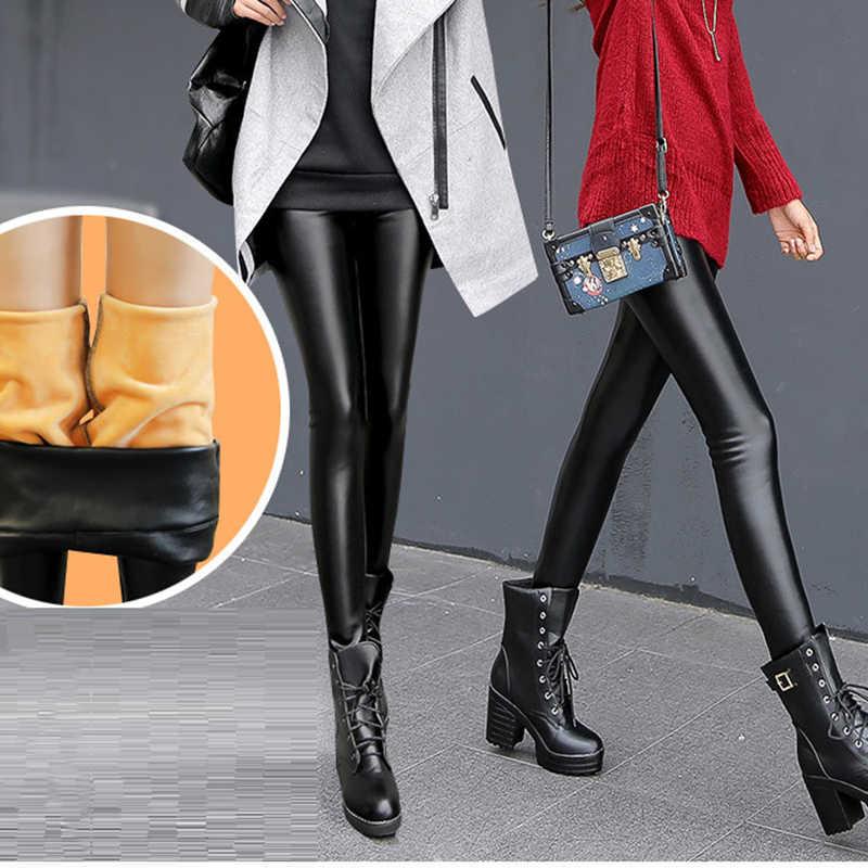 Velet alta Qualiaty Couro Pu Lápis Calças 2018 Preto Outono Inverno Quente Grossa Leggings Plus Size 3XL Skinny Cintura Alta legging