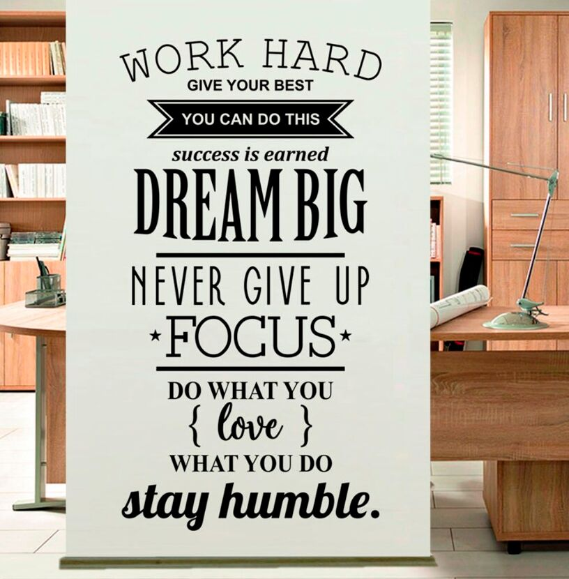 Hot Sale Work Hard Wall Sticker Inspiration Quote Wall Decal Office