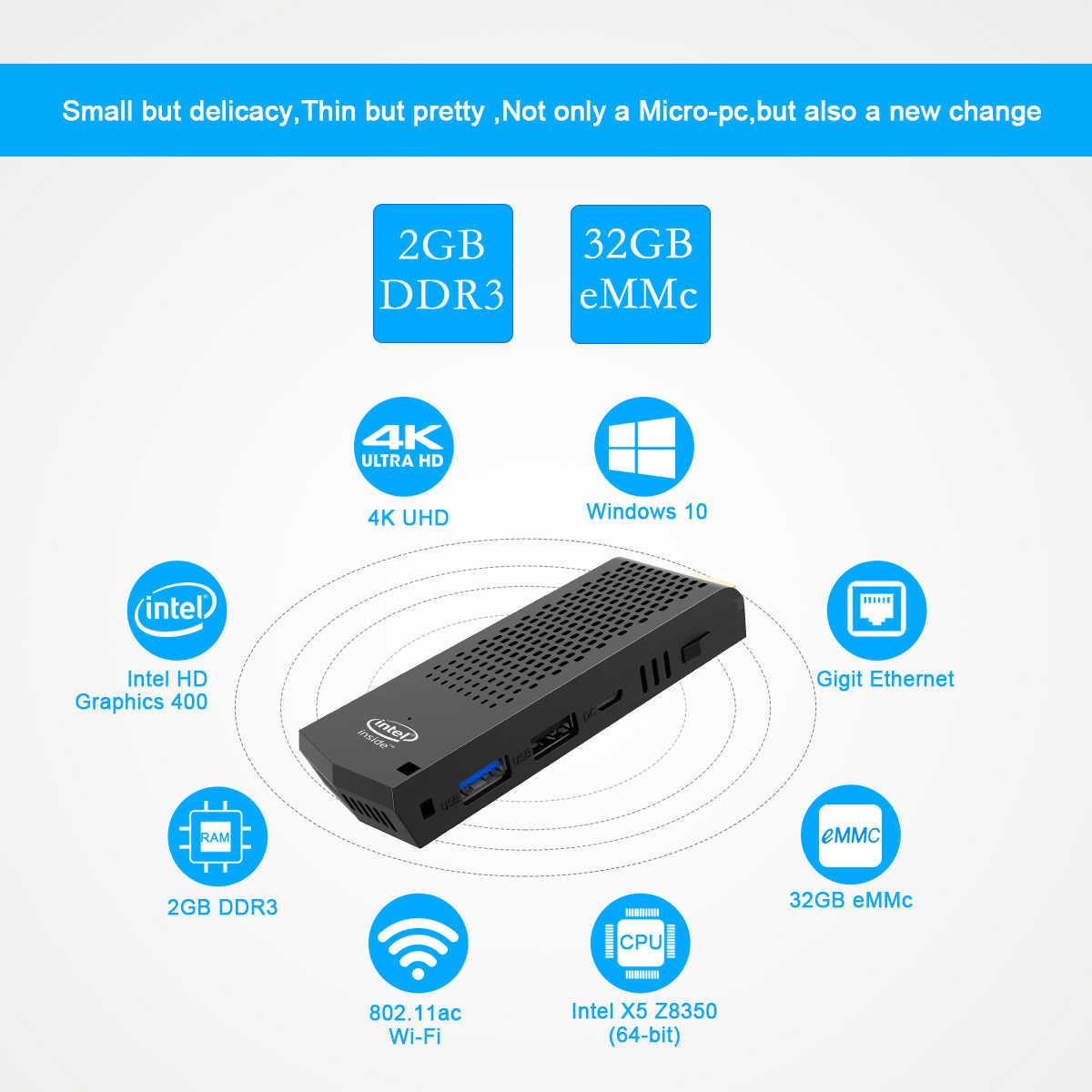 T6 Mini PC Windows 10 Intel X5 Z8350 Core 2G + 32G 4G + 64G USB3.0 USB2.0 Hộ Gia Đình Thương Mại Micro MÁY TÍNH Mini PC Máy Tính