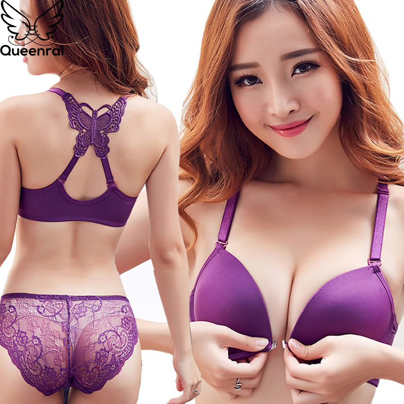 Queenral Front Closed Push Up Brassiere Panties Sexy Underwire Bra Set For Women Underwear Solid Color Female Lingerie Briefs