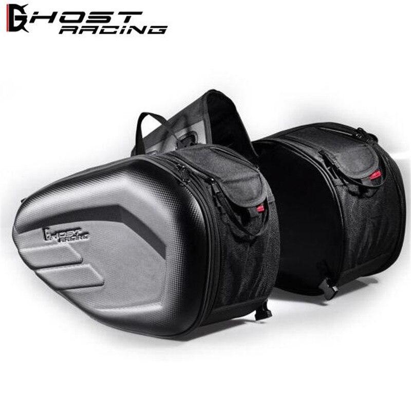 GHOST RACING 58L Waterproof One Set Motorcycle Saddlebag Universal Moto Riding Knight Helmet Bag Tail Luggage Suitcase