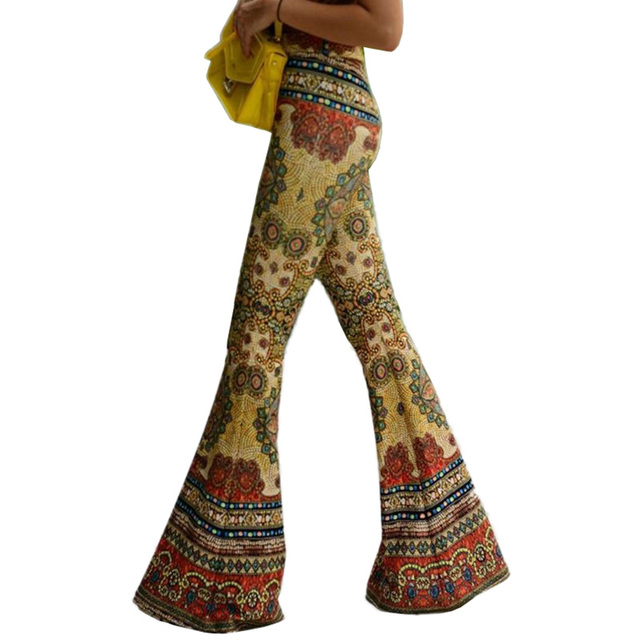 5609e03dc1f0 Hippie Boho African Print Wide Leg Pants Elastic Stretch Trousers Ethnic  Spandex Pants Summer Hot Bottom Flare Pants dropship