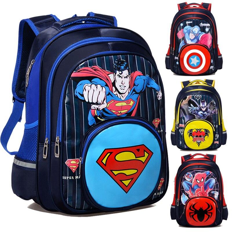 Comics Superman Spiderman Batman Captain America Boy Girl Children Kindergarten School Bag Teenager Schoolbags Student Backpacks