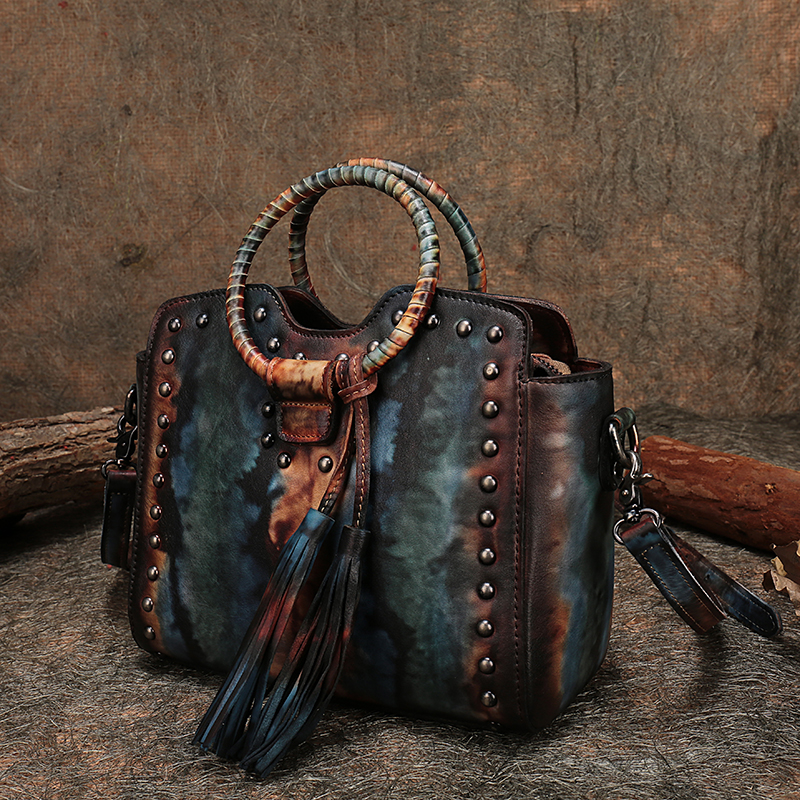 Retro Lady Handbag Leather Shoulder Sling Bags Handmade Genuine Leather Circular Ring Handle Messenger Women s
