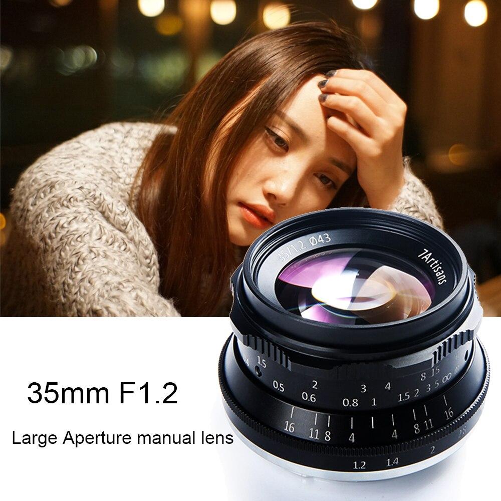 7 ремесленников 35 мм F1.2 Руководство объектив с фиксированным фокусным расстоянием для sony E-mount A7R A7S A6500 A7/Fuji X-T2 x-Pro2/Canon EOS-M M6/M4/3 беззеркальных Ка...