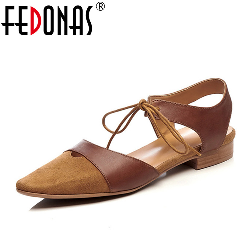 FEDONAS Genuine Leather Women Close Toe Sandals Fashion Summer Ankle Strap Sweet Women Low Heel Sandals