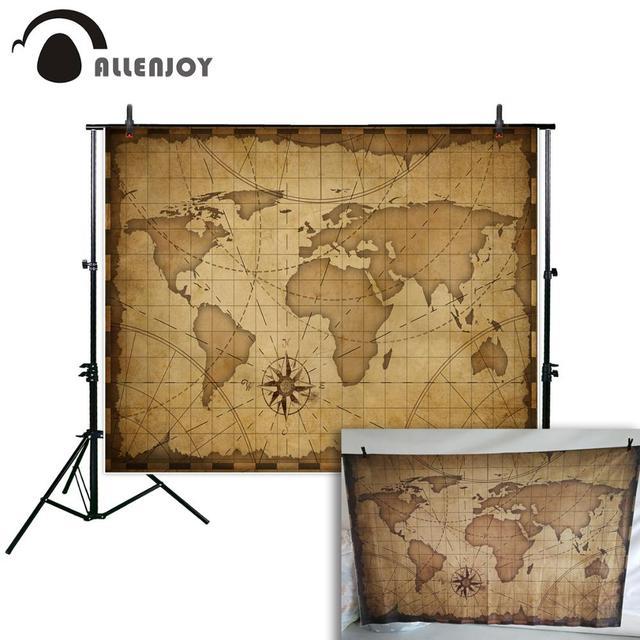 Allenjoy photographic background Map navigation ancient world travel customization new backdrop photocall photo printed custom