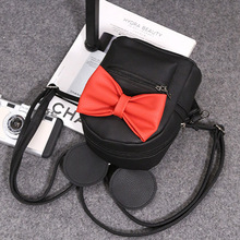 Ecoparty 1 female bag quality pu leather women bag Korean version of Mickey ears sweet bow College Wind mini backpackXA245B
