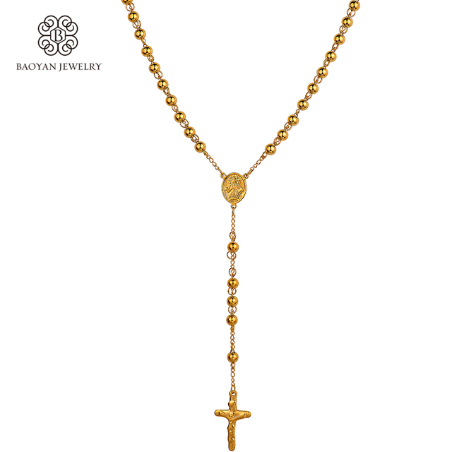 Stainless steel18k gold color long catholic cross pendant goddess stainless steel18k gold color long catholic cross pendant goddess necklace for menswomen 6mm solid beads never aloadofball Images