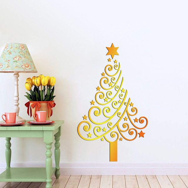 Festive Christmas Tree Flower Star PVC DIY Wall Stickers Living Room Home  Decor 3D Vinyl Wall Part 86