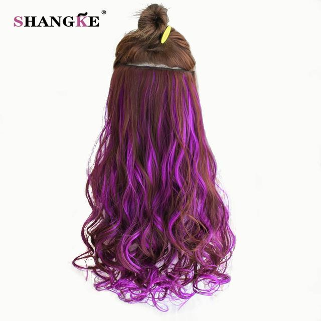 SHANGKE 24'' Long Colored Curly Hair Extensions 5 Clip In Hair Extensions Heat Resistant Synthetic Fake Hair 26 Colors Available