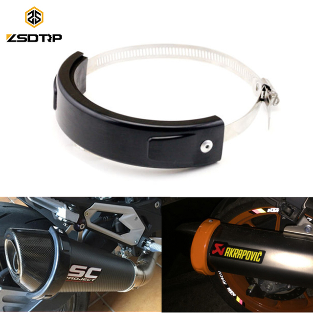 ZSDTRP Round Oval Exhaust Protector Can Cover For 100-140mm Motorcycle Exhaust Stainless Steel Clamp