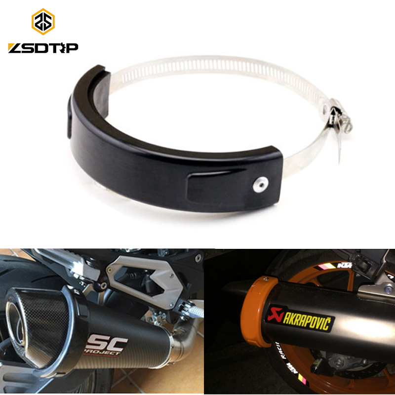ZSDTRP Round Oval Exhaust Protector Can Cover For 100-140mm Motorcycle Exhaust Stainless Steel Clamp image