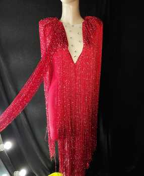 2019 Long Fringes Design Dress Rhinestones Outfit Sexy Dance Wear Party Tassel Costume Stage Club wear Singer Dance Clothes