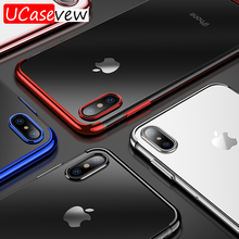 Fashion Ultra thin Clear Transparent Silicone Case For iPhone X Xs XR Max 7 8 Plating Soft protection Back Cover