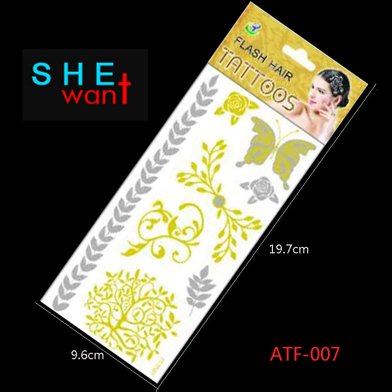 Hot Flash Leaves Bracelet Gold Metallic Tatoo Atf-007 Temporary Sexy Women Hair Wrist Body Art Jewelry Tattoo Stickers Design