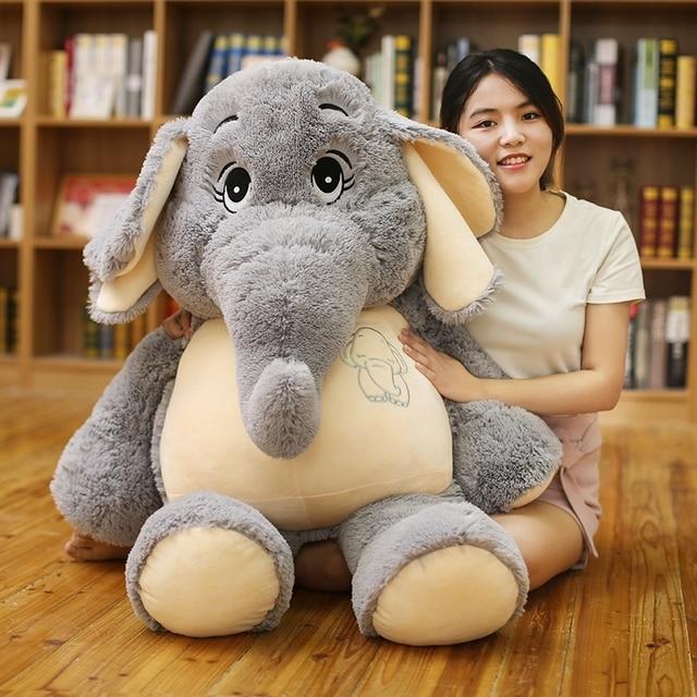 Giant plush Elephant toys Grey Stuffed Big flappy ears Long plush elephant Animal toys for Children Christmas gift for Children