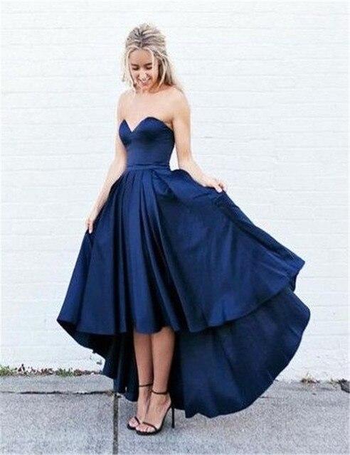 618284d851 Vestido De Gala 2017 A Line Sweetheart Sleeveless Blue Satin Evening  Dresses Short Front Long Back Party Gowns