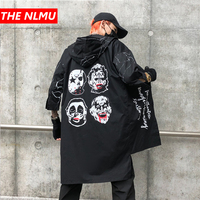 Wind Coat Jacket Men Autumn Street Devil Medium Long Windbreaker Half Sleeve Hip Hop Men's Black Extended Joker Jacket Top WG362
